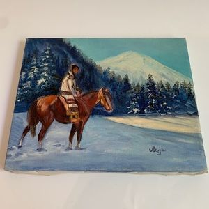 Native American Girl on a Horse Painting on Canvas